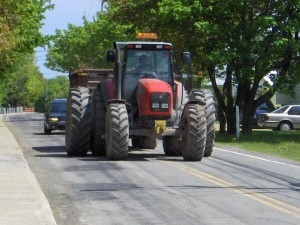 Tractor taking up two lanes of road