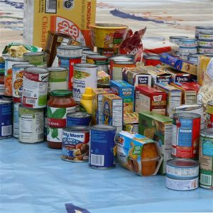 Food pantry donations on table